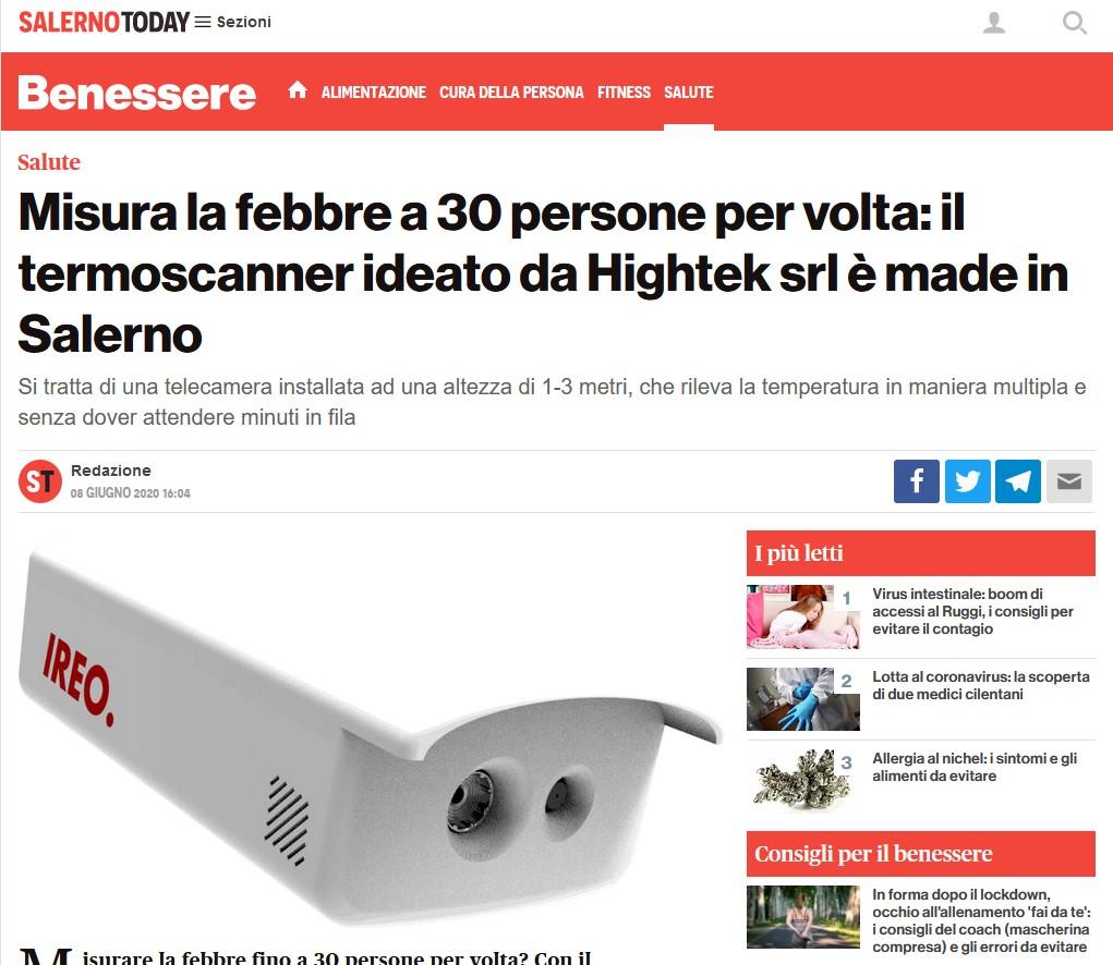 """Misura la febbre a 30 persone per volta: il termoscanner ideato da Hightek srl è made in Salerno """"Misura la febbre a 30 persone per volta: il termoscanner ideato da Hightek srl è made in Salerno"""""""